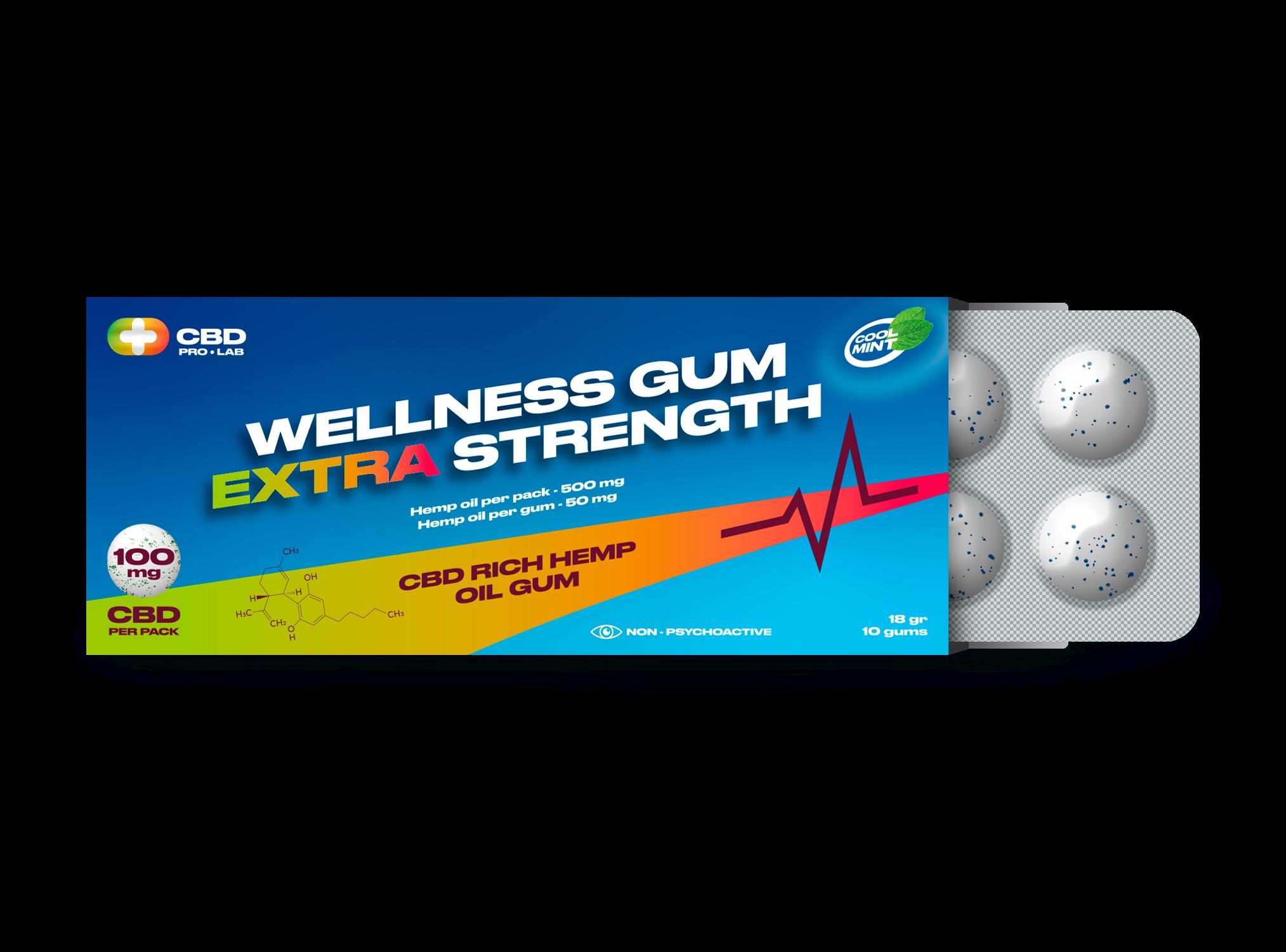 Chicles de CBD Wellness extra strength 10 und